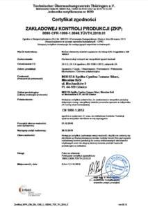 Certyfikat EN1090-2 INDESTA