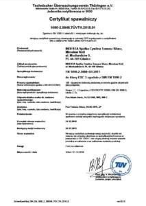 Certyfikat spawalniczy 1090-2 INDESTA